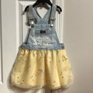 Overall Jeans Tulle Floral Puffy Circle Skirt 5T
